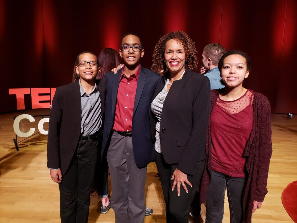 Heather Younger at the TEDx Colorado Springs event with her children.