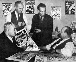From left to right: Marston, H. G. Peter, Sheldon Mayer and Max Gaines