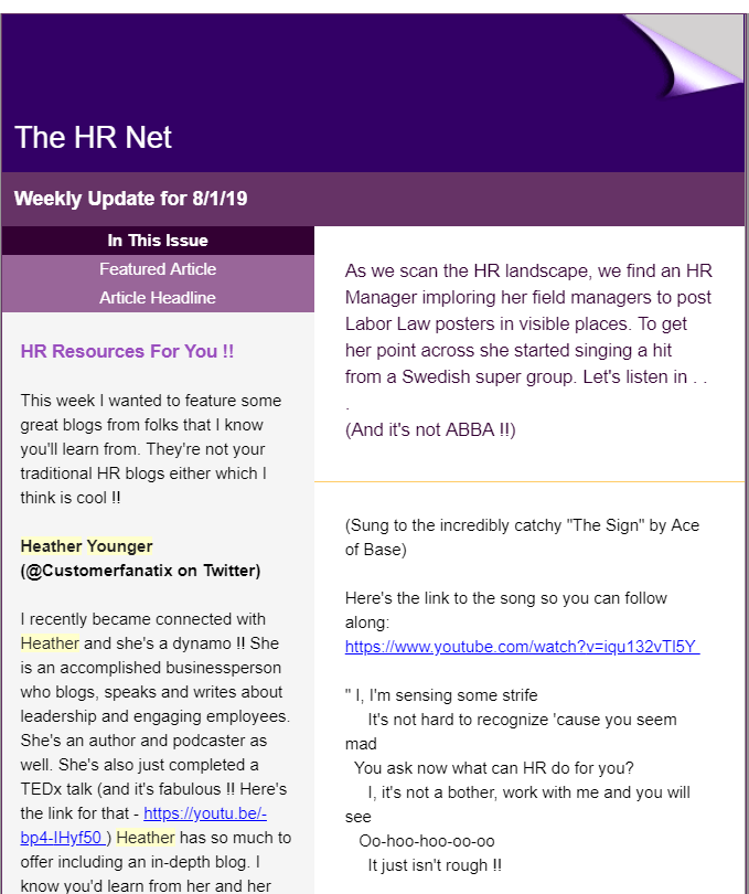The HR Net Weekly Update for 8/1/19